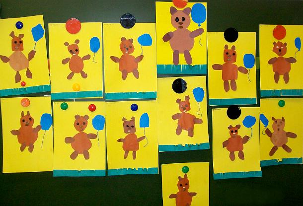 Медведи на жёлтых листах А4