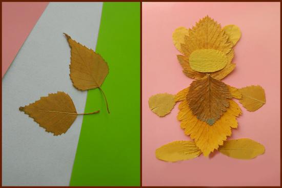 Мишка из листьев