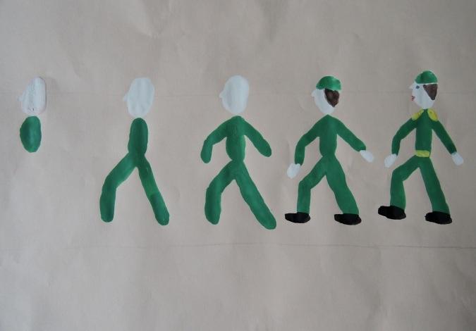 Последовательность рисования солдата акварелью