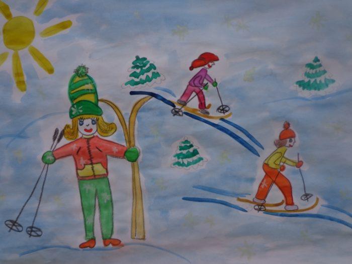 Рисунок «дети на лыжах»