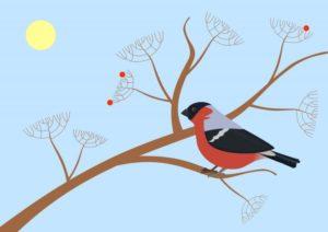 Рисунок с изображением снегиря на ветке