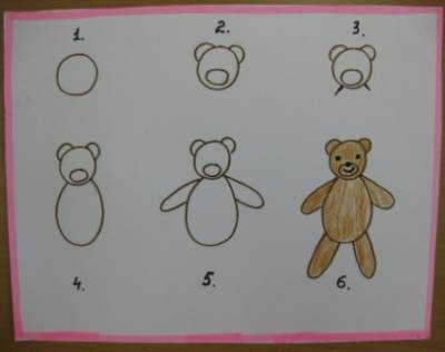 Схема поэтапного рисования медведя