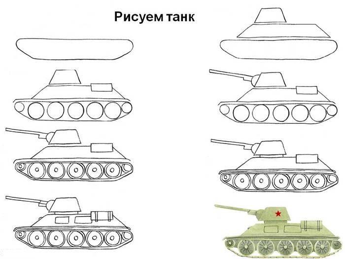 Схема поэтапного рисования танка