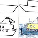 Схема поэтапного рисования военного корабля
