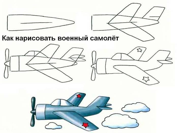 Схема поэтапного рисования военного самолета
