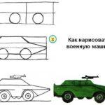 Схема поэтапного рисования военной машины