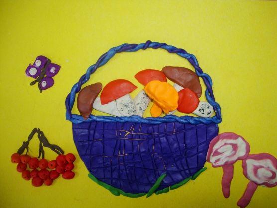 Синяя пластилиновая корзина с грибами, рябина и бабочка рядом
