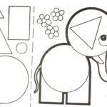 Слон с образцами геометрических фигур для заполнения