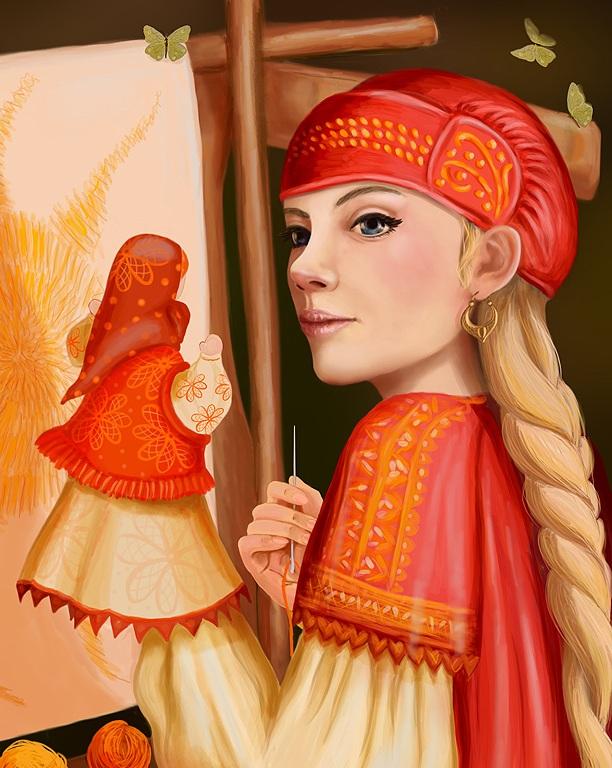 Василиса Прекрасная со своей верной куколкой