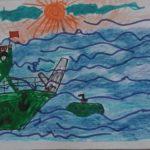 Военный корабль во время шторма