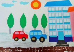 Аппликация с изображением городской улицы