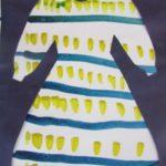 Платье с желто-синим орнаментом