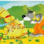 Волк дует на соломенный домик