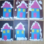 6 голубых домов с фиолетовыми крышами