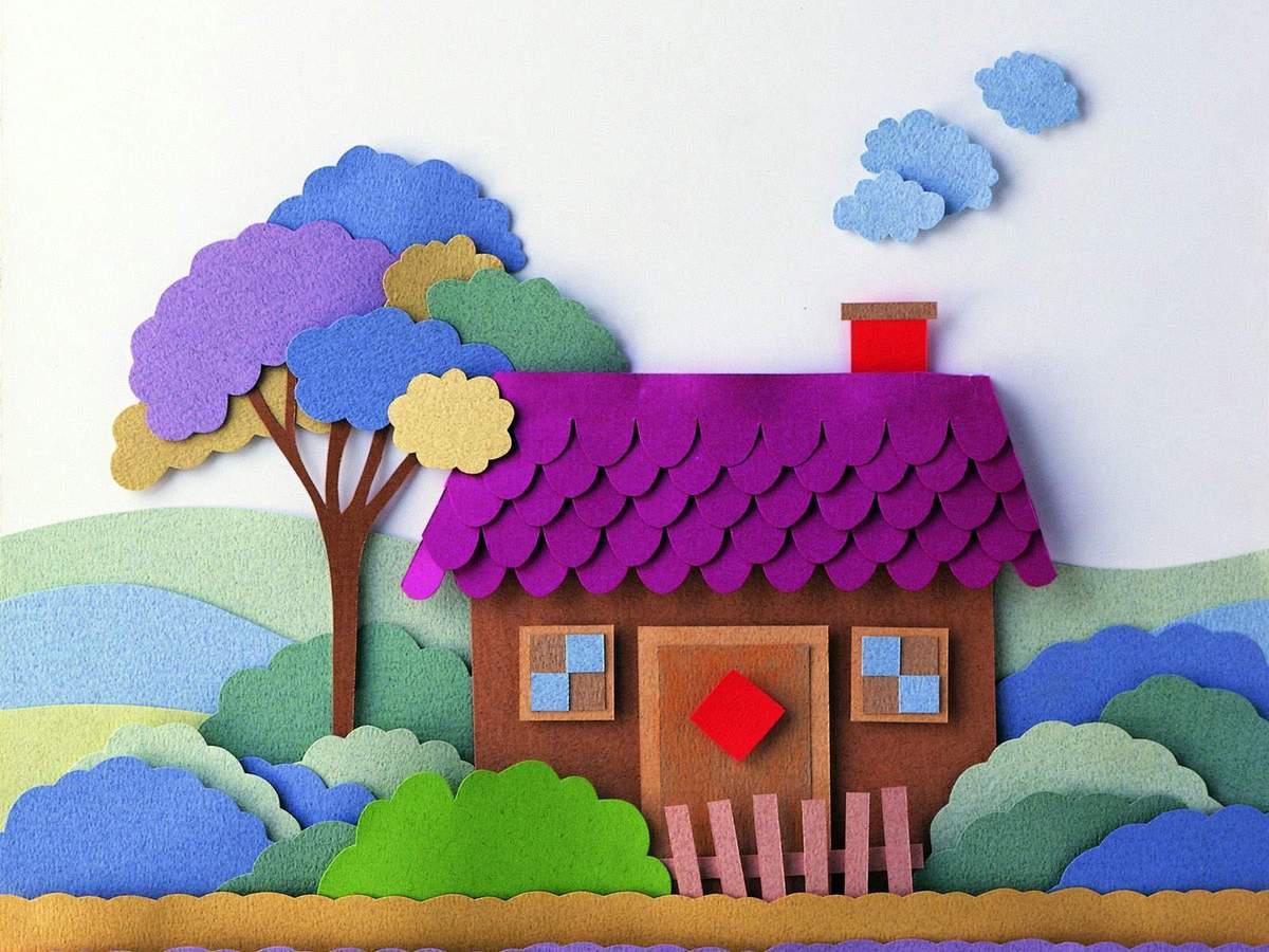 Как сделать домик из цветной бумаги своими руками 1013
