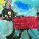 рисунок чёрный кот