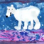 рисунок белый мишка