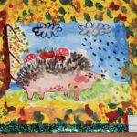 рисунок ёжик с яблоками