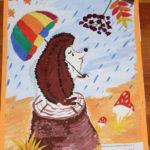 рисунок ёжик под дождём