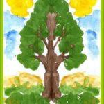 Зелёное дерево, техника монотипии