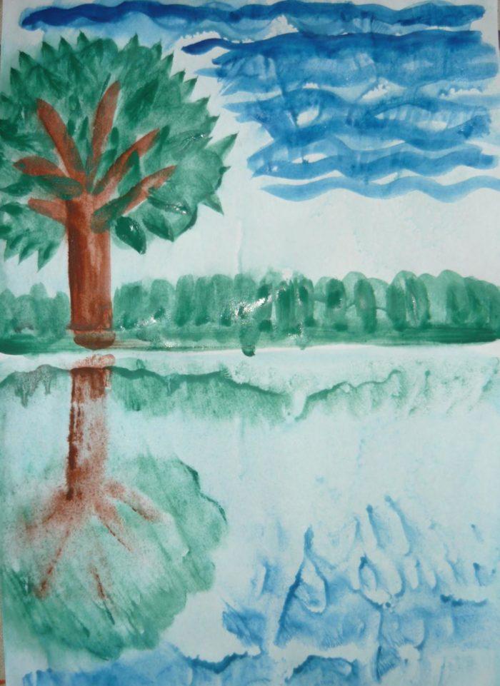 Рисунок летнего пейзажа, сделанный техникой монотипии