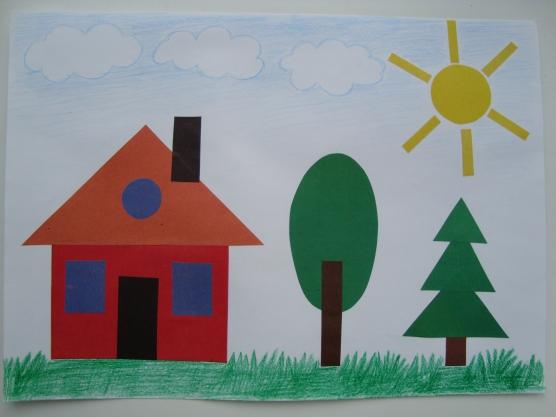 Дом, дерево, ёлочка и солнце