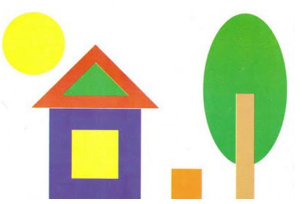 Дом, дерево, солнце — геометрические фигуры
