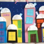 Дома с крышами-ватными дисками — аппликация в средней группе