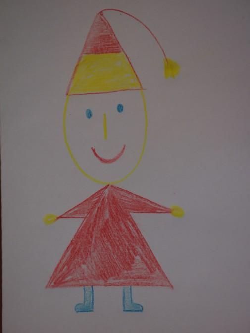 Гном в красной рубашке и с красно-жёлтым колпачком