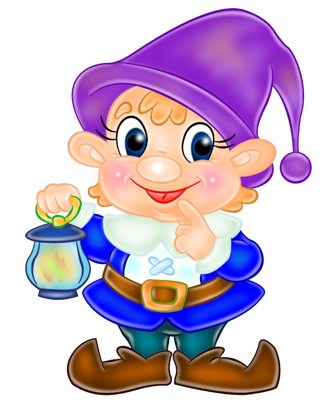 Гномик с фонарём, картинка для детей