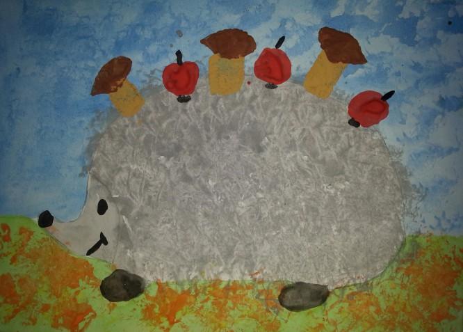 готовая работа «Ёжик с яблоками»
