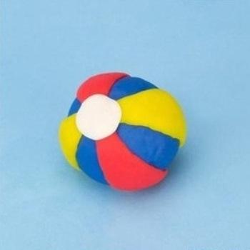 Готовый синий шарик с красно-жёлтыми полосками