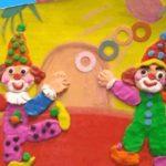 клоуны — пластилинография