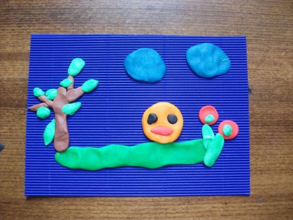 колобок — работа по пластилинографии в детском саду