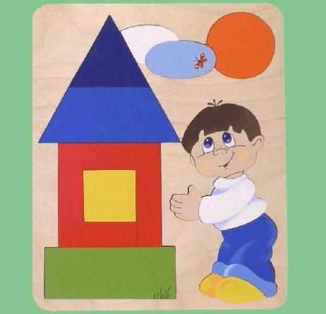 Красный домик с синей крышей, мальчик и шарики над его головой