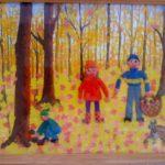 дети в осеннем парке -пластилинография