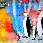 Монотипия: северное сияние с пингвинами-аппликацией