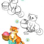 Пошаговая инструкция рисования котёнка