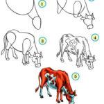 Пошаговая инстукция рисования коровы