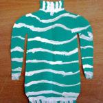 Рисунок: зелёный свитер с белыми полосками