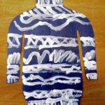 Рисунок: синий свитер с разными узорами