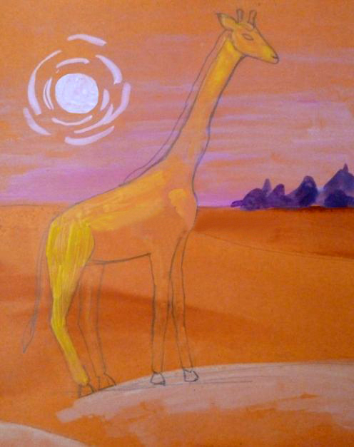«Жираф» закрашивание силуэта