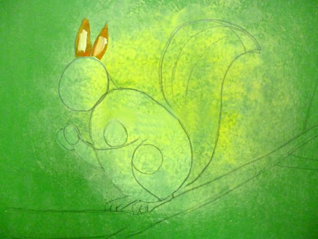 «Белочка с орешком» дорисовка хвоста и ушек