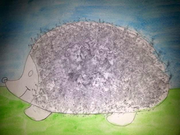 «Ёжик делает заготовки на зиму» иголки нарисованы мятой бумагой