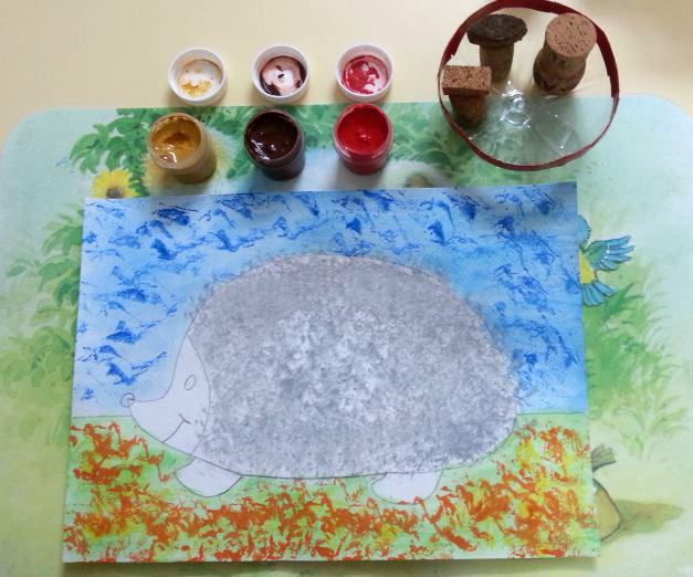 «Ёжик делает заготовки на зиму» пробковые штампы для рисования