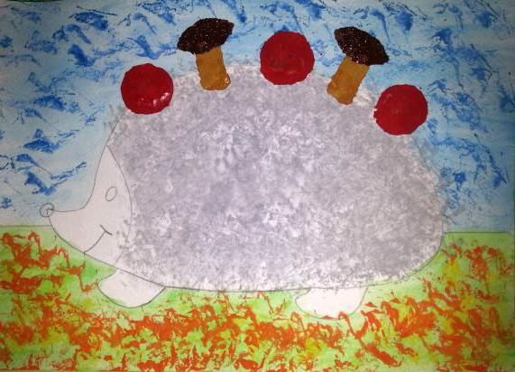 «Ёжик делает заготовки на зиму» дорисовка шляпок грибов