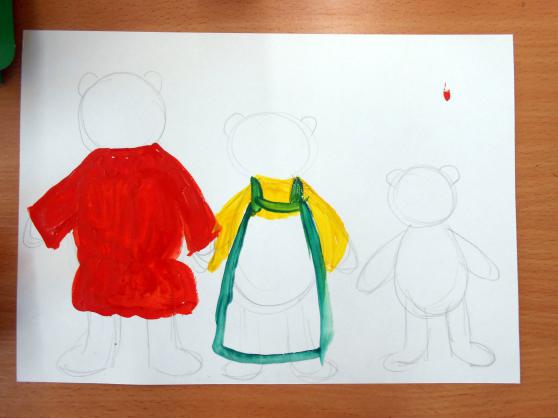 «Три медведя» раскрашивание костюмов