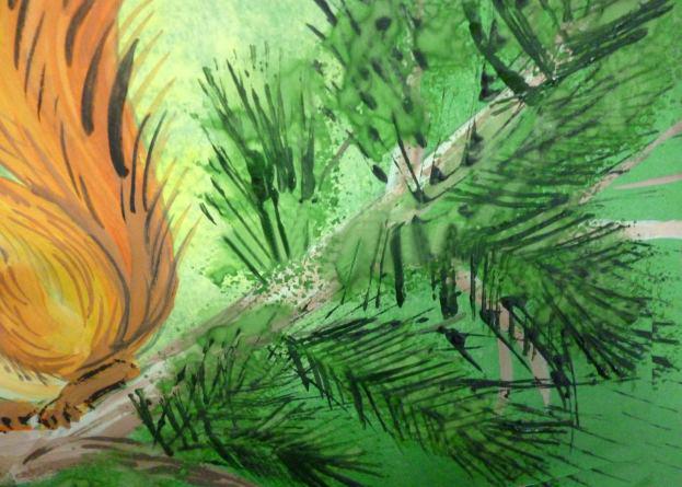 «Белочка с орешком» прорисовка иголок