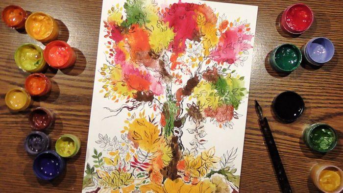 Рисунок дерева, выполненный в технике монотипии