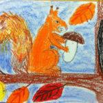 рисунок восковыми мелками «Белка»
